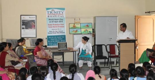 World Health Day 07 April 2014 Awareness talk on Vector Borne Diseases at Govt. Sen. Sec School, Bhabat, Zirkapur