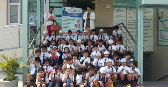 Students visited Trinity Hospital . Hand Hygiene activity done with students