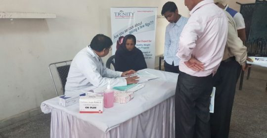 To mark Trinity Hospital Foundation Day, a free health check up camp was organized at vill Bhabat, Zirakpur.