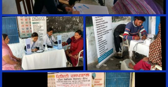 As part of CSR, a free health check up was organized at vill Nabha Sahib, Zirakpur on 11 Dec 2016.  Free Consultation (Gynae & Medicine) , BMD Test and Lab tests were given to around 100 people from the  village.