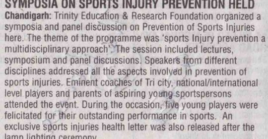 Symposia on prevention of sports injury held