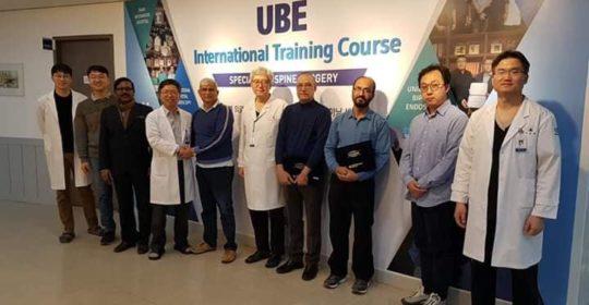 Dr Mohinder Kaushal attends UBE Observation Training at Parkweonwook Hospital, Busan, South Korea