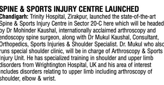 Region's First Spine & Sports Injury Centre Launched